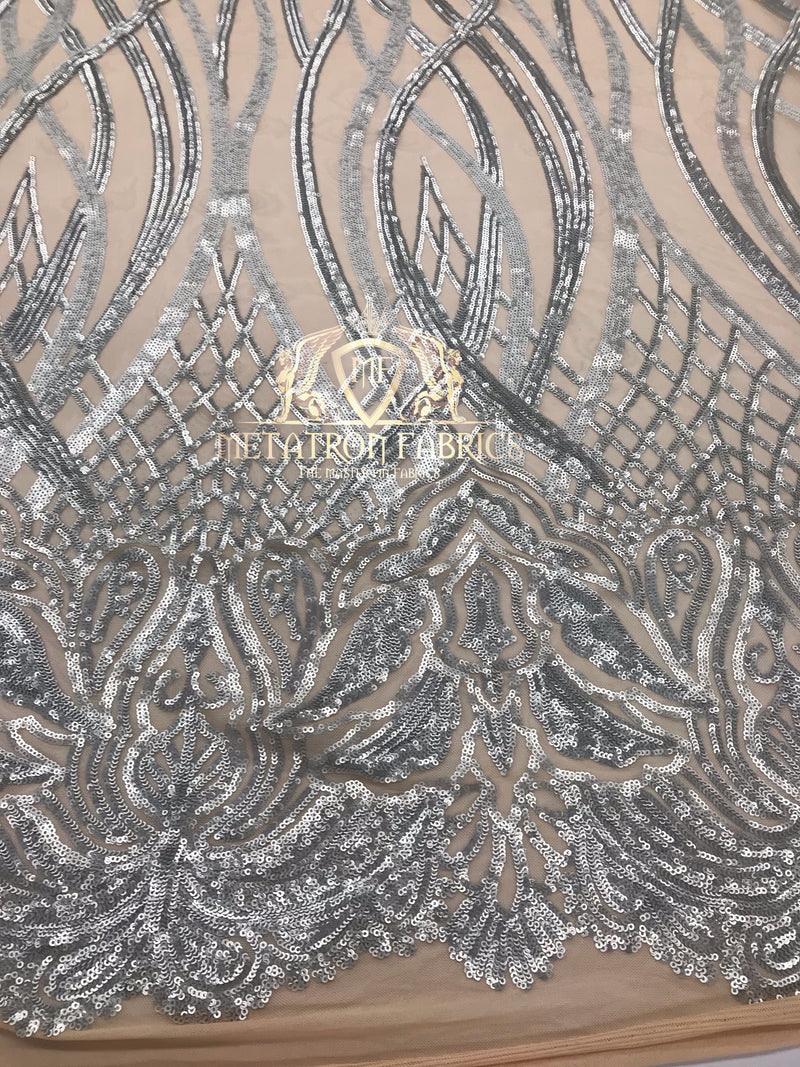 4 Way Stretch - Silver - Vines Design Sequins Fabric Embroidered On Nude Mesh Sold By The Yard
