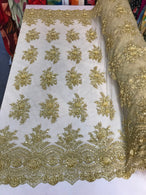 Beaded - Gold - Embroidered Floral Design Fancy Sequins Fabric with Beads Sold By The Yard