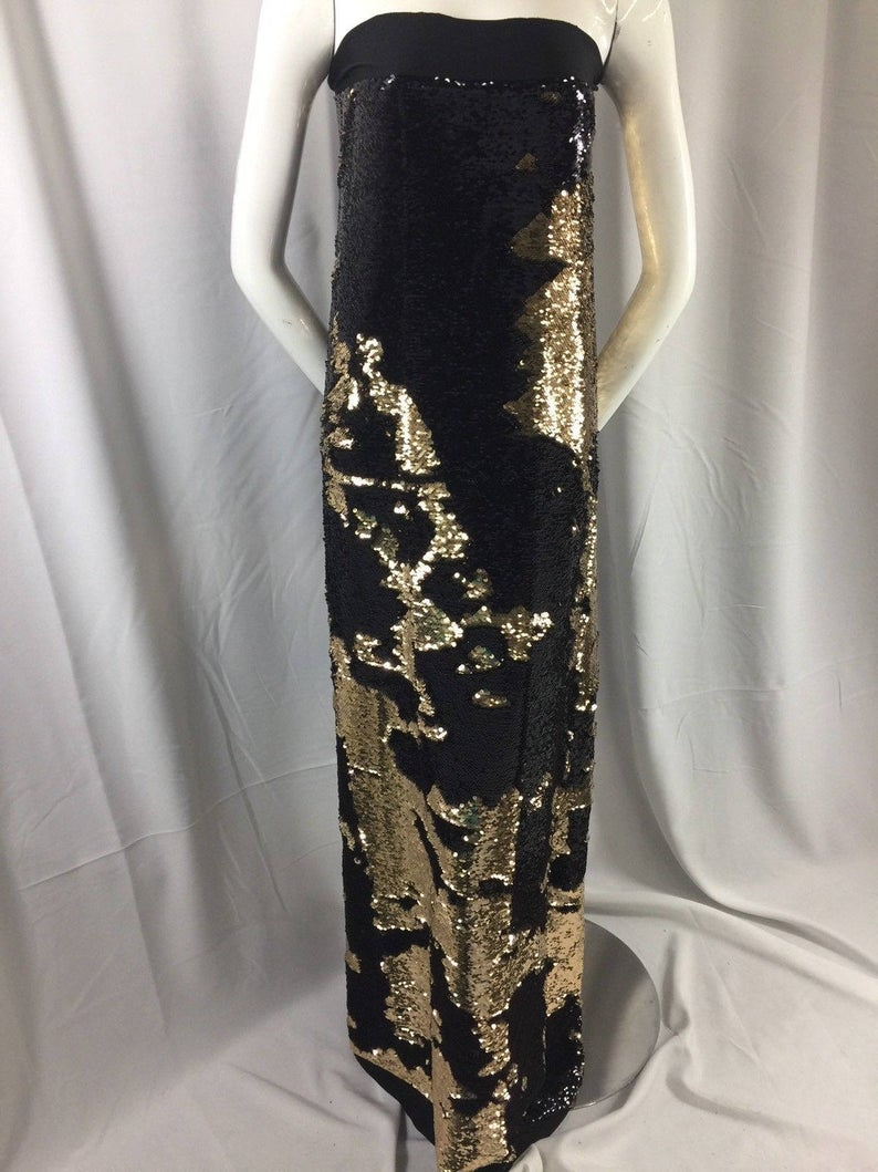 Mermaid Sequins Fabric Reversible 2 Way Stretch Black / Gold Shiny Flip Up Prom-Gown 40 Yards