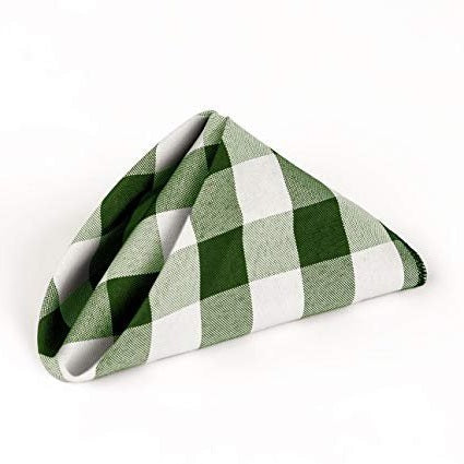 Checkered Napkins - Hunter Green - 15-Inch Polyester Napkins (1-Dozen) Checkered Napkins