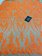 4 Way Stretch Fabric - Neon Orange - Damask Glam Design Sequins Fashion Fabric Mesh By Yard