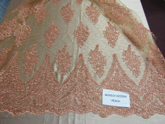 Lace Fabric By The Yard French Design Embroidered Mesh For Bridal Wedding Dress Peach