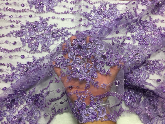 Sold By The Yard Purple Bridal Beaded Mesh Lace Fabric Hand Embroidered With Diamonds For Dress.