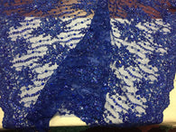 Beaded Lace Fabric - Royal Blue  - Fancy Embroidery on Mesh For Bridal Wedding Dress Sample