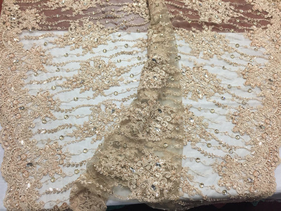Beaded Lace Fabric - Gold - Fancy Embroidery on Mesh For Bridal Wedding Dress Sold By The Yard