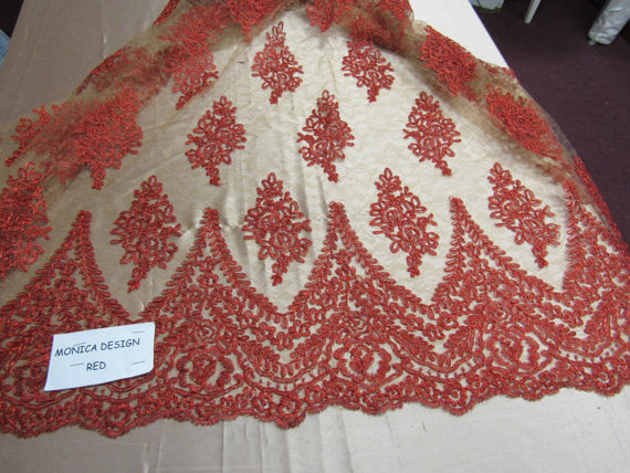 Lace Fabric By The Yard French Design Embroidered Mesh For Bridal Wedding Dress Orange