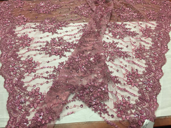 Beaded Lace Fabric - Dusty Rose - Fancy Embroidery on Mesh For Bridal Wedding Dress Sold By The Yard