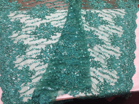 Beaded Lace Fabric - Teal - Fancy Embroidery on Mesh For Bridal Wedding Dress Sold By The Yard
