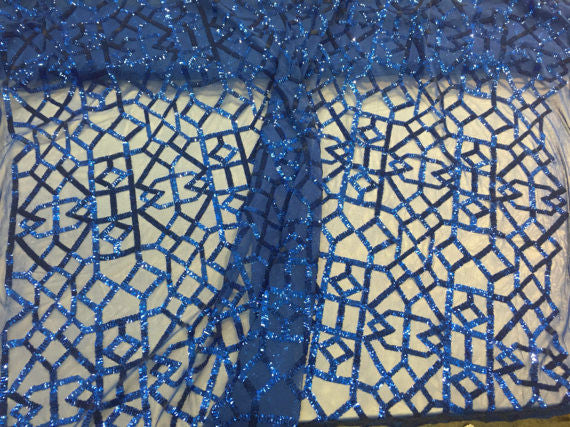 4 Way Stretch Geometric Sequins Royal Blue Mesh Lace Fabric Dress Fashion Sold By The Yard