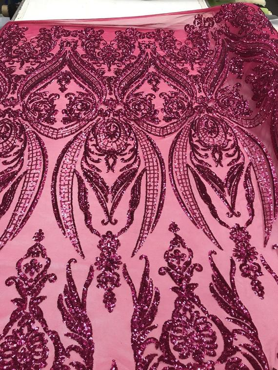 4 Way Stretch Fabric - Fuchsia Sequins - Fabric Embroidered Power Mesh By The Yard