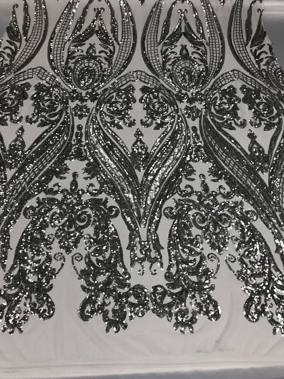 Sequins Fabric 4 Way Stretch Silver Embroidered Mesh Dress Fashion Lace Decoration By The Yard