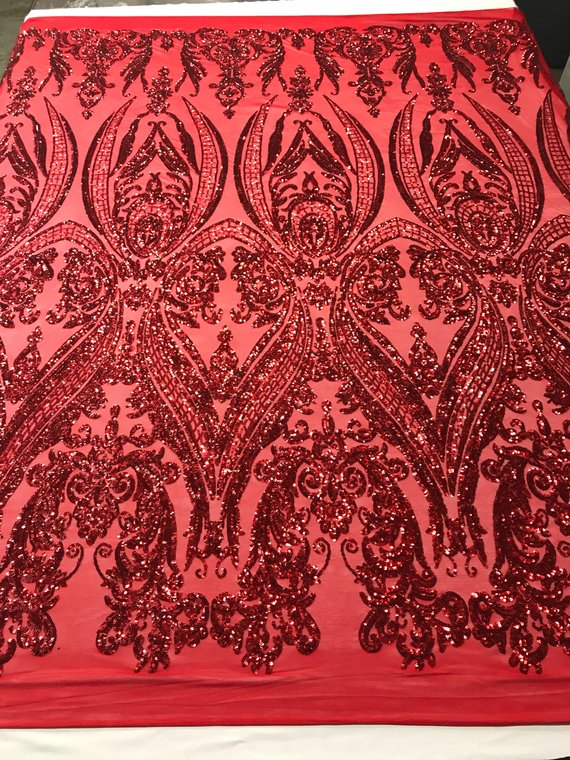 4 Way Stretch Fabric Sequins By The Yard Red Embroidered Mesh Dress Top Fashion Lace Decoration