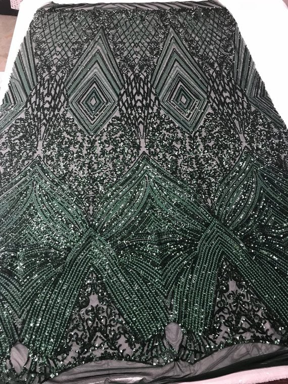 Geometric Sequins Fabric with 4 Way Stretch - Hunter Green-  Elegant Lace  Fabrics Sold By The Yard