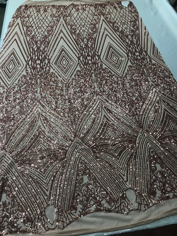 Geometric Sequins Fabric with 4 Way Stretch - Rose Gold -  Elegant Lace  Fabrics Sold By The Yard