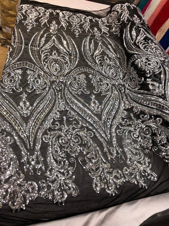 """50/"""" Poly Net Embroidered Silver Sequin Fabric"""