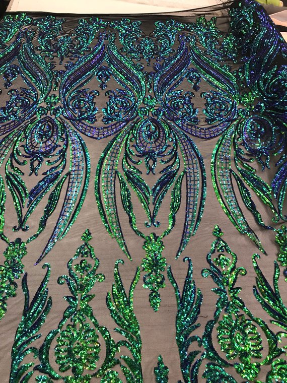 4 Way Stretch Fabric - Iridescent Jade - Sequins Fabric Embroidered Power Mesh Design By The Yard
