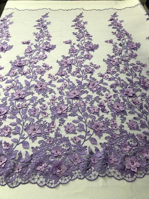 Lilac 3D Floral Design Embroider With Pearls On A Mesh Lace Dresses-Prom-Nightgown By Yard