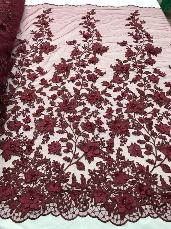Burgundy 3D Floral Design Embroider With Pearls On A Mesh Lace Dresses-Prom-Nightgown By Yard