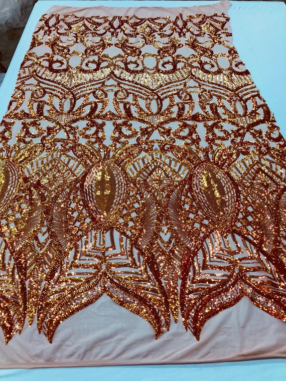 Fabric 4 Way Stretch - Iridescent Orange Sequins - Embroidered Lace Fabric By The Yard