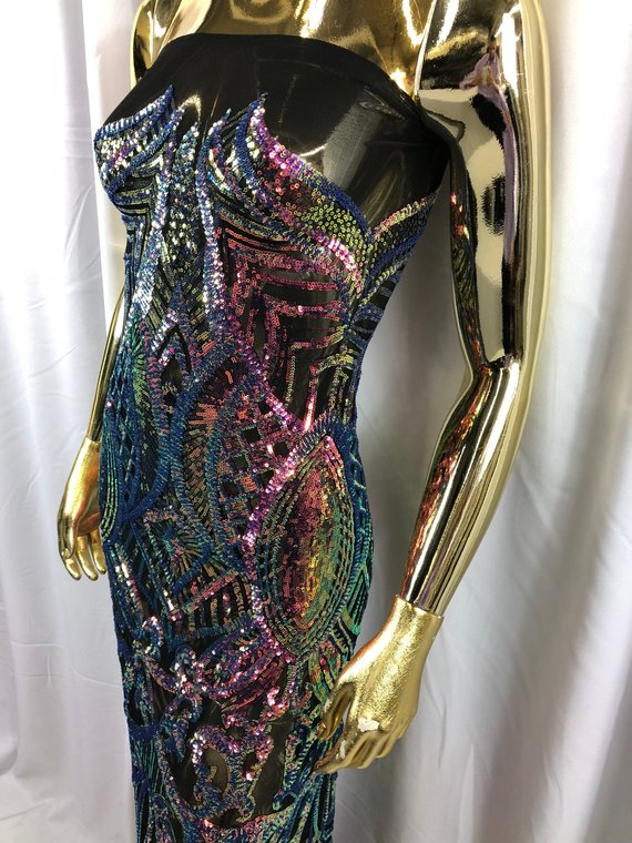 Shop Scorpion Sequins Design Sold By The Yard Iridescent Green 4 Way Stretch Fabric Sequins Fabric Embroidered Power Mesh Dress