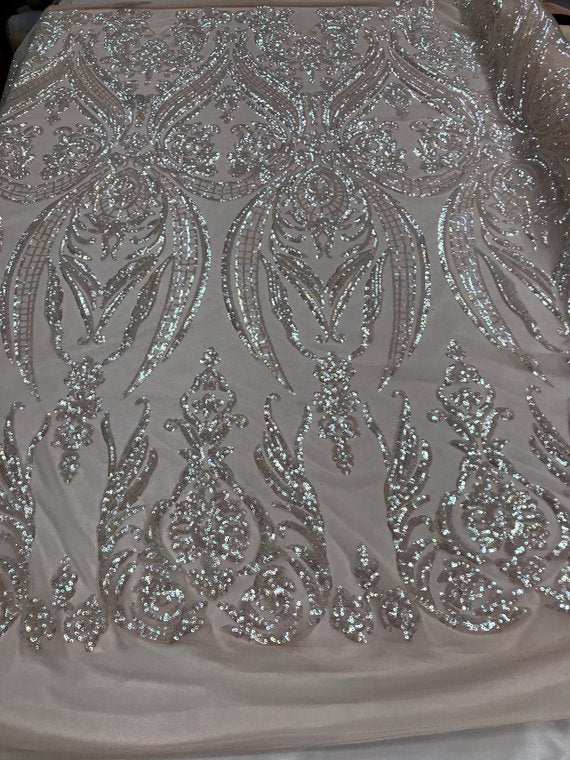 4 Way Stretch Fabric - Iridescent Pink Sequins - Fabric Embroidered Power Mesh By The Yard