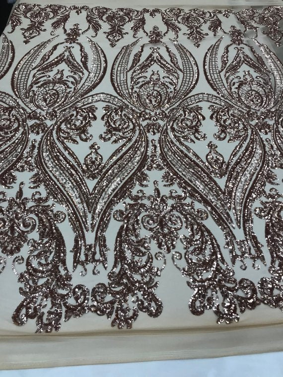 4 Way Stretch Fabric - Khaki Sequins - Fabric Embroidered Power Mesh  By The Yard