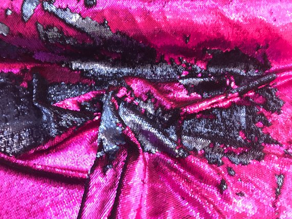 Mermaid Sequins Fabric Reversible 2 Way Stretch Fuchsia Matte Flip Up Sequins Fabric By The Yard