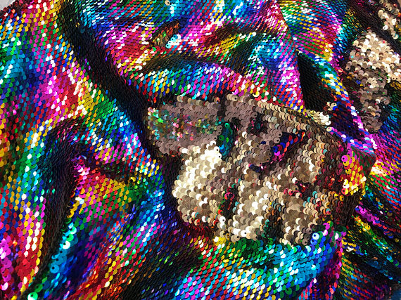 White//Red Mermaid Sequins Fabric Reversible 2 Way Stretch Flip Up By The Yard