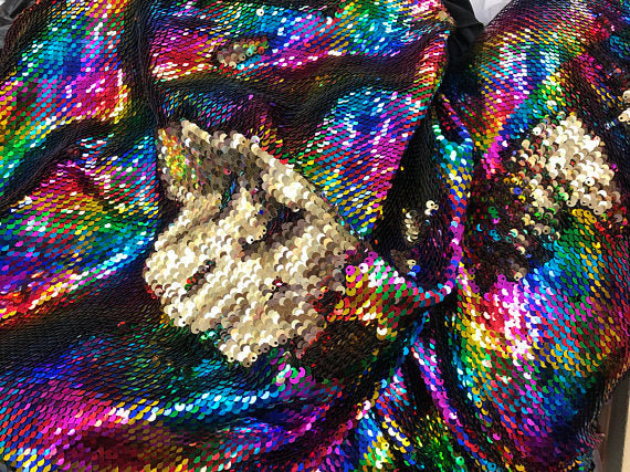 Mermaid Sequins Fabric Reversible 2 Way Stretch RAINBOW GOLD Shiny Flip Up Sequins Fabric By Yard