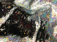 Mermaid Sequins Fabric Black/Silver Hologram Flip up Sequins Reversible Nightgowns-Prom By The Yard