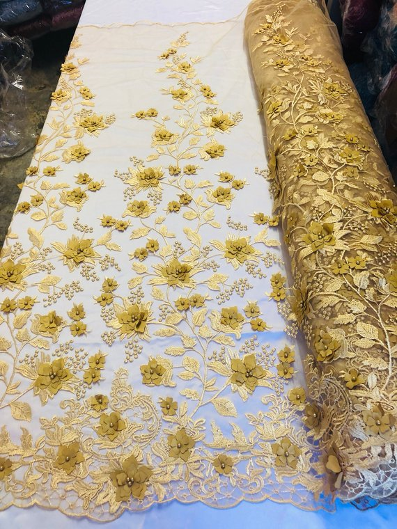 Gold 3D Floral Design Embroider With Pearls On A Mesh Lace Dresses-Prom-Nightgown By Yard