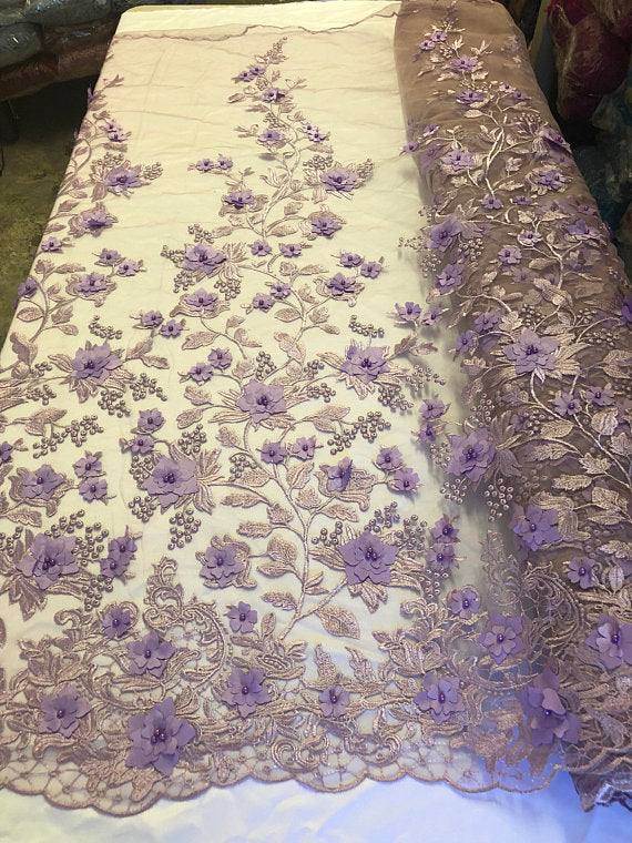 Lavander 3D Floral Design Embroider With Pearls On A Mesh Lace Dresses-Prom-Nightgown By Yard