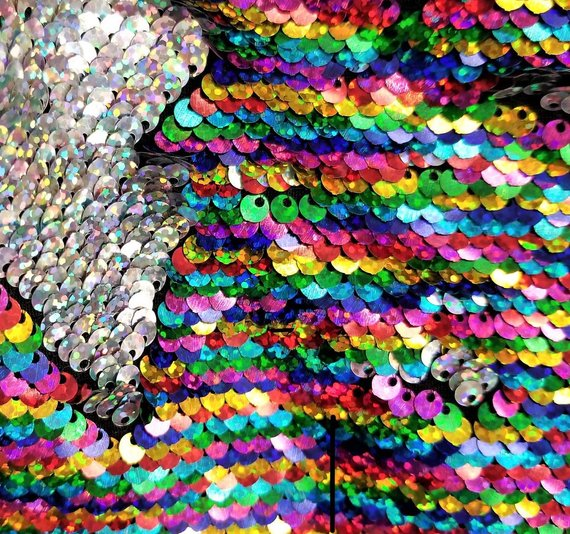 Tablecloths White-Gold Hologram Sequins Two Tone Flip Up SequinsReversible Sequins Fabric By The Yard Dresses Prom Gowns, Nightgowns