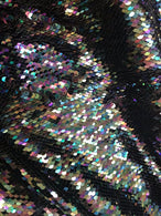 Flip Up Sequins Mermaid Sequins Fabric Black Multi-Color Reversible 2 Way Stretch Prom-Gown By Yard