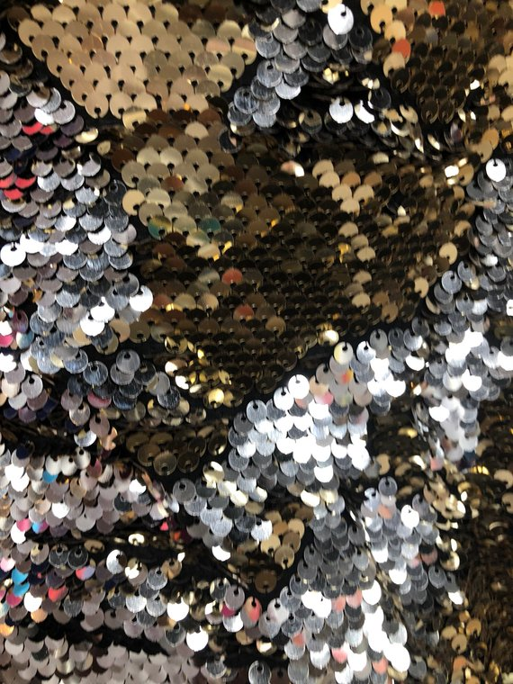 Sequins Fabric Lt Gold-Silver Sequins Flip Up Sequins Reversible Nightgowns-Prom Gowns By Yard