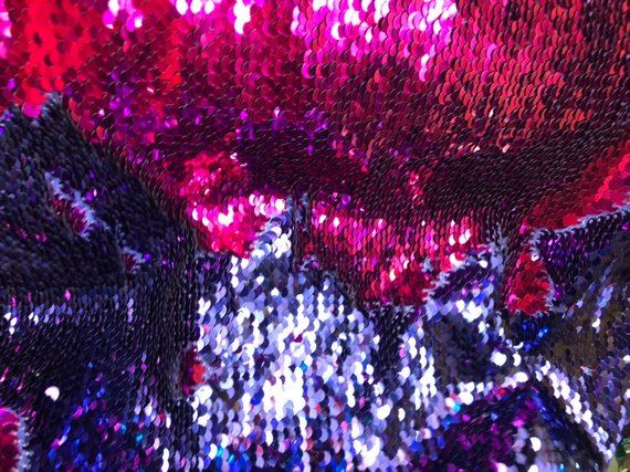 Flip Up Sequins Reversible Purple Shiny-Fuchsia Sequins Fabric Dresses-Nightgowns-Prom Gown By Yard