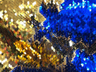 Flip Up Sequins Reversible By The Yard Gold Shiny-Royal Blue Sequins Fabric ,Nightgowns-Prom-Gown