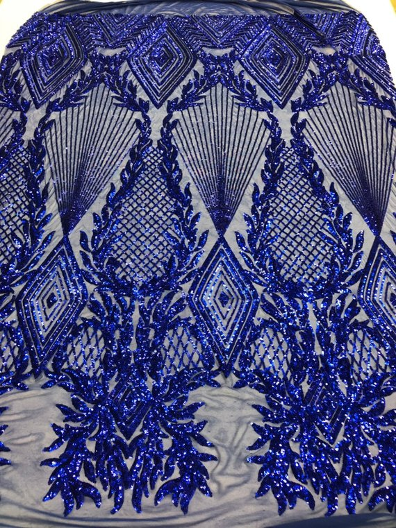 Sequins 4 Way Stretch Shiny Fabric with Triangle Net Pattern - Royal Blue - Fabric Sold by The Yard