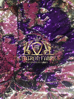 Sequins Fabric Iridescent Purple Flip Up 2 Way Stretch Shiny Reversible,Nightgowns-Prom By Yard