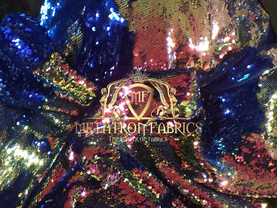 Sequins Fabric Iridescent Royal Blue Flip Up 2 Way Stretch Shiny Reversible,Nightgowns-Prom By Yard