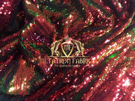 Sequins Fabric Iridescent Red-Green Flip Up 2 Way Stretch Shiny Reversible,Nightgowns-Prom By Yard