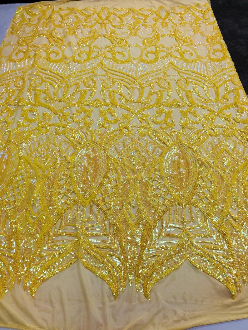 4 Way Stretch Fabric - Iridescent Yellow Sequins Fabric Embroidered Mesh By The Yard