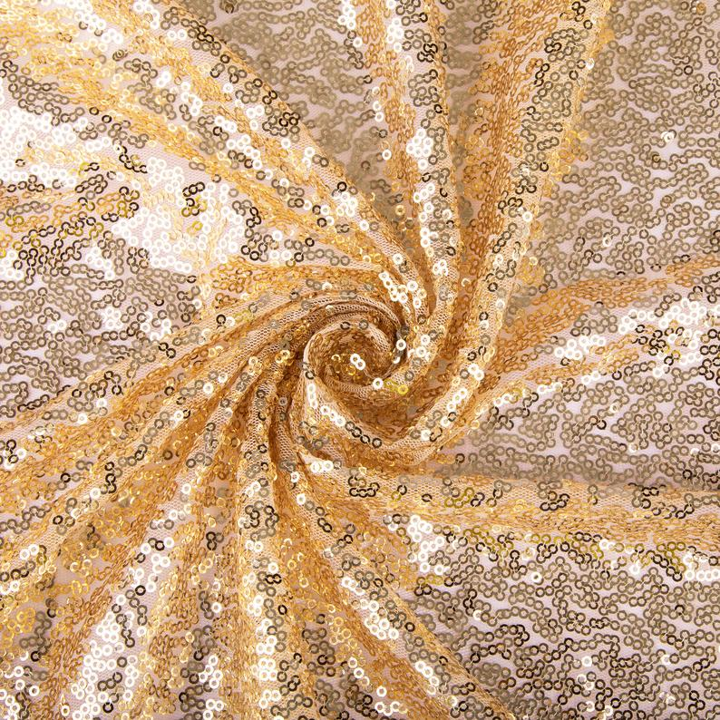 Mini Glitz Sequins - Gold - 2 Way Stretch Shiny Sequins Mesh Fabric Sold By The Yard