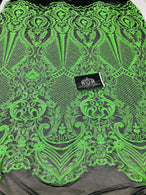 4 Way Stretch Fabric - Neon Green - Fancy Pattern Design Sequins Fashion Fabric Mesh By Yard