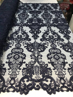 Floral - Navy Blue - Embroided Lace Fabric Damask Pattern - Beautiful Fabrics Sold by The Yard