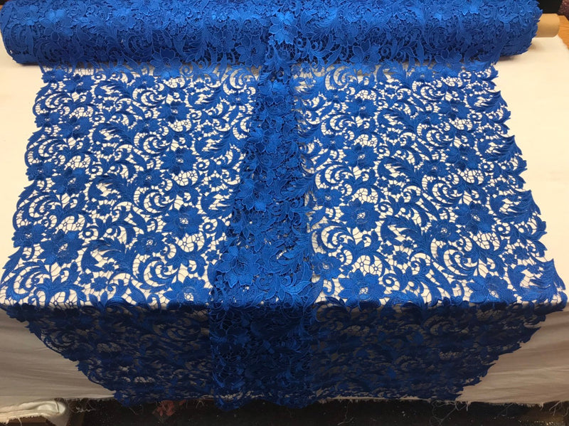 Guipure Lace Fabric Royal Blue - Embroidered Floral Bridal Lace Guipure Wedding Dress By The Yard
