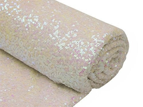 Mini Glitz Sequins - Iridescent Pink - 2 Way Stretch Shiny Sequins Mesh Fabric Sold By The Yard