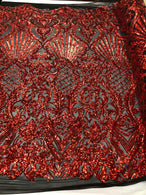 Red Sequins On Black Mesh 4 Way Stretch Damask Design Fabric On Stretch Mesh By The Yard