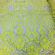 4 Way Stretch Damask Design Yellow Sequins Fabric On NUDE Mesh By Yard
