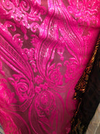 Damask Sequins - Neon Pink - 4 Way Stretch Bright Elegant Shiny Net Sequins Fabric